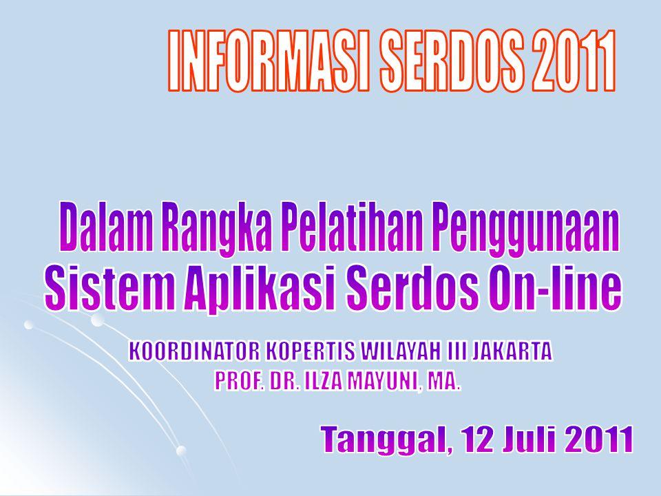 Daftar PTS dan Peserta Pelatihan Penggunaan Sistem Aplikasi Serdos On-line tgl.