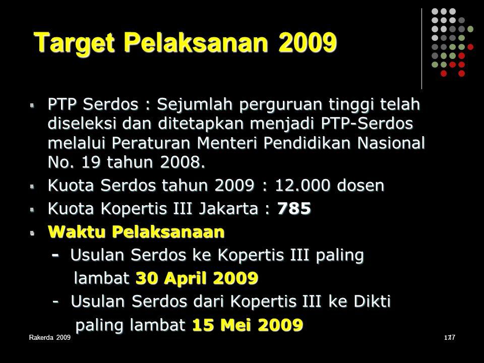 Rakerda 20091717 Target Pelaksanan 2009  PTP Serdos : Sejumlah perguruan tinggi telah diseleksi dan ditetapkan menjadi PTP-Serdos melalui Peraturan M