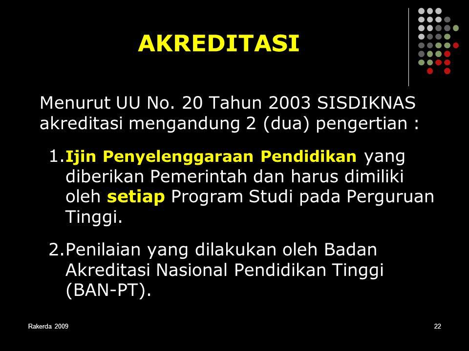 Rakerda 200922 AKREDITASI Menurut UU No. 20 Tahun 2003 SISDIKNAS akreditasi mengandung 2 (dua) pengertian : 1. Ijin Penyelenggaraan Pendidikan yang di