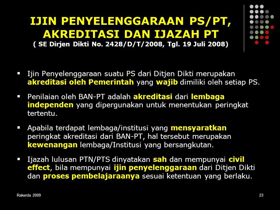 Rakerda 200923  Ijin Penyelenggaraan suatu PS dari Ditjen Dikti merupakan akreditasi oleh Pemerintah yang wajib dimiliki oleh setiap PS.  Penilaian