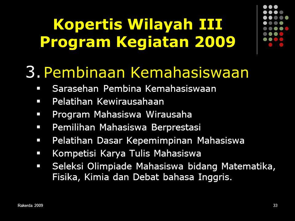 Rakerda 200933 3. Pembinaan Kemahasiswaan  Sarasehan Pembina Kemahasiswaan  Pelatihan Kewirausahaan  Program Mahasiswa Wirausaha  Pemilihan Mahasi