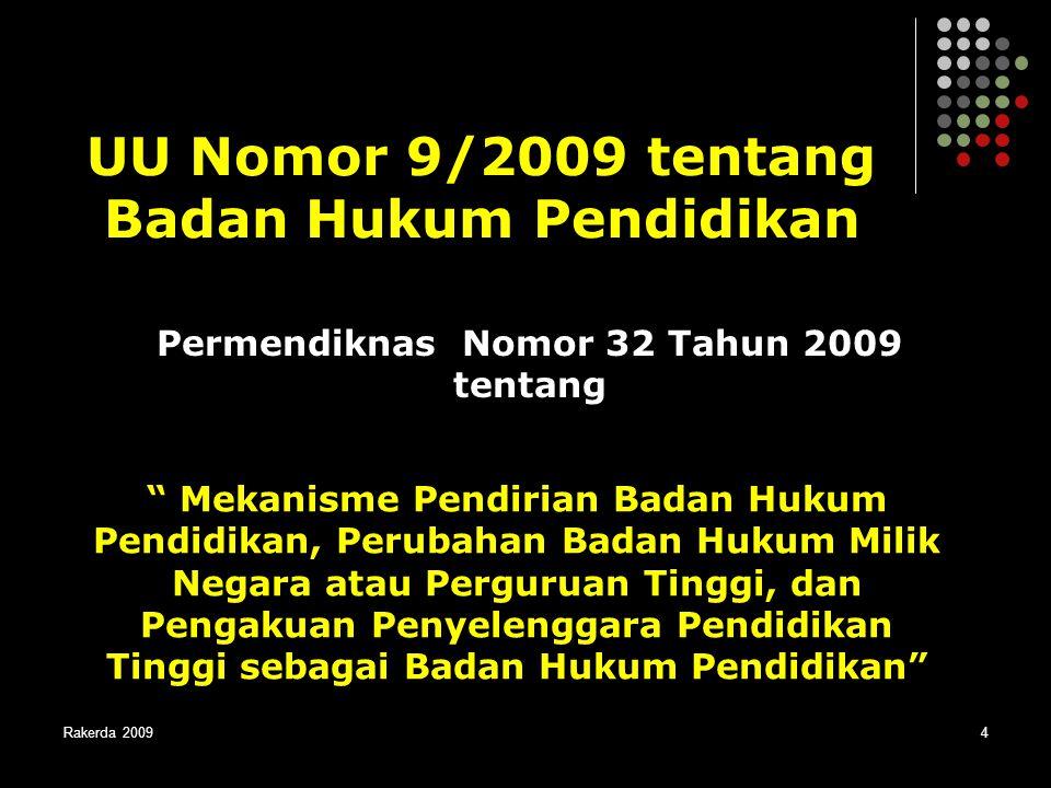 """Rakerda 20094 UU Nomor 9/2009 tentang Badan Hukum Pendidikan """" Mekanisme Pendirian Badan Hukum Pendidikan, Perubahan Badan Hukum Milik Negara atau Per"""