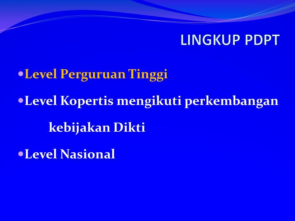 Level Perguruan Tinggi Level Kopertis mengikuti perkembangan kebijakan Dikti Level Nasional