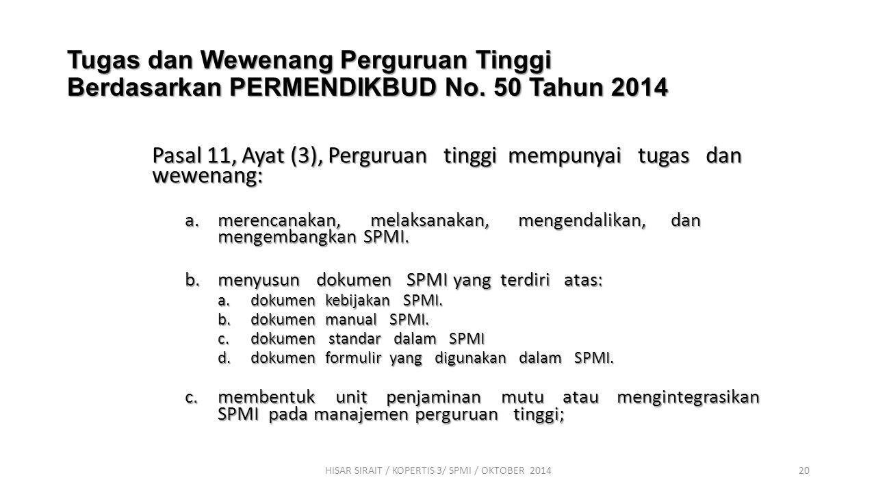 AGENDA 2 RANCANGAN IMPLEMENTASI SPMI HISAR SIRAIT / KOPERTIS 3/ SPMI / OKTOBER 201419