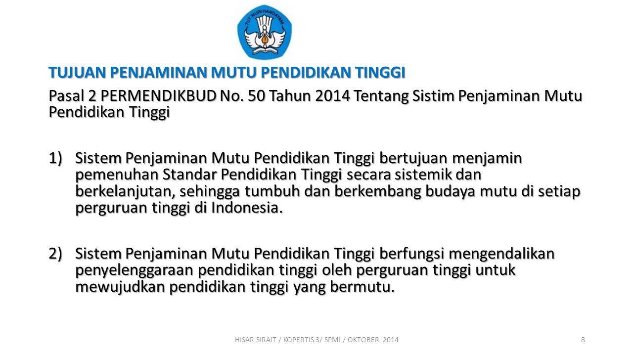 Pelaksanaan Sistim Penjaminan Mutu Pendidikan Tinggi berdasarkan Pasal 51 & Pasal 52 UU. No. 12 Tahun 2012 Tentang Pendidikan Tinggi 1)Pasal 51, Ayat