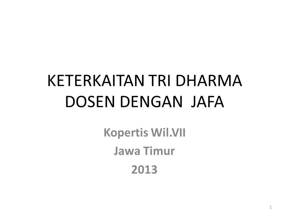 KETERKAITAN TRI DHARMA DOSEN DENGAN JAFA Kopertis Wil.VII Jawa Timur 2013 1