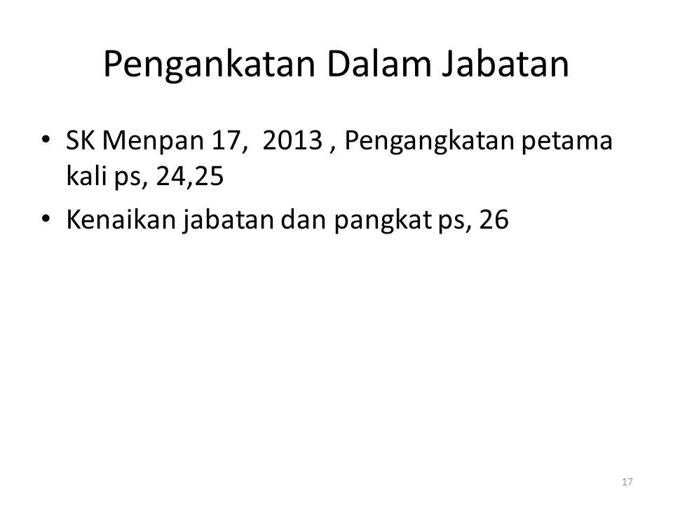 Pengankatan Dalam Jabatan SK Menpan 17, 2013, Pengangkatan petama kali ps, 24,25 Kenaikan jabatan dan pangkat ps, 26 17