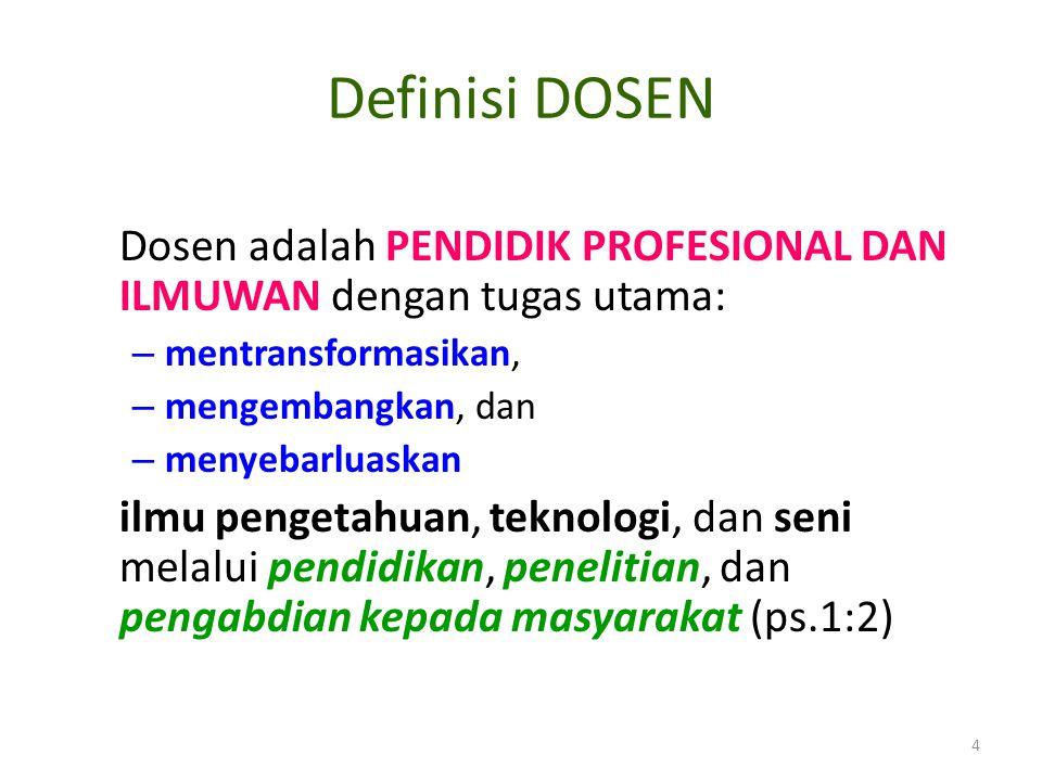 Definisi DOSEN Dosen adalah PENDIDIK PROFESIONAL DAN ILMUWAN dengan tugas utama: – mentransformasikan, – mengembangkan, dan – menyebarluaskan ilmu pen