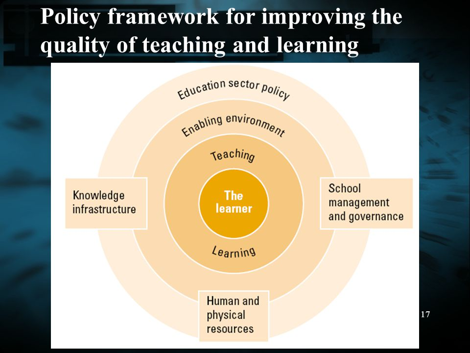 17 Policy framework for improving the quality of teaching and learning