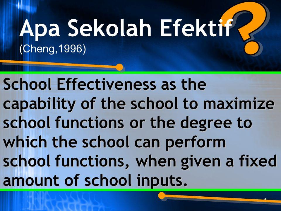 4 BEST PRACTICE: Belajar dari pengalaman School Effectiveness Research: META ANALISIS (Harris and Bennett, 2001) Apa Karakteristik Sekolah Efektif 1.KEPEMIMPINAN YANG PROFESIONAL (Professional Leadership) 2.VISI DAN TUJUAN BERSAMA (Shared Vision and Goals) 3.LINGKUNGAN BELAJAR (a Learning Environment) 4.KONSENTRASI PADA BELAJAR-MENGAJAR (Concentration on Learning and Teaching) 5.HARAPAN YANG TINGGI (High Expectation) 6.PENGUATAN/PENGAYAAN/PEMANTAPAN YANG POSITIF (Positive Reinforcement) 7.PEMANTAUAN KEMAJUAN (Monitoring Progress) 8.HAK DAN TANGGUNG JAWAB PESERTA DIDIK (Pupil Rights and Responsibility) 9.PENGAJARAN YANG PENUH MAKNA (Purposeful Teaching) 10.ORGANISASI PEMBELAJAR (a Learning Organization) 11.KEMITRAAN KELUARGA-SEKOLAH (Home-School Partnership).