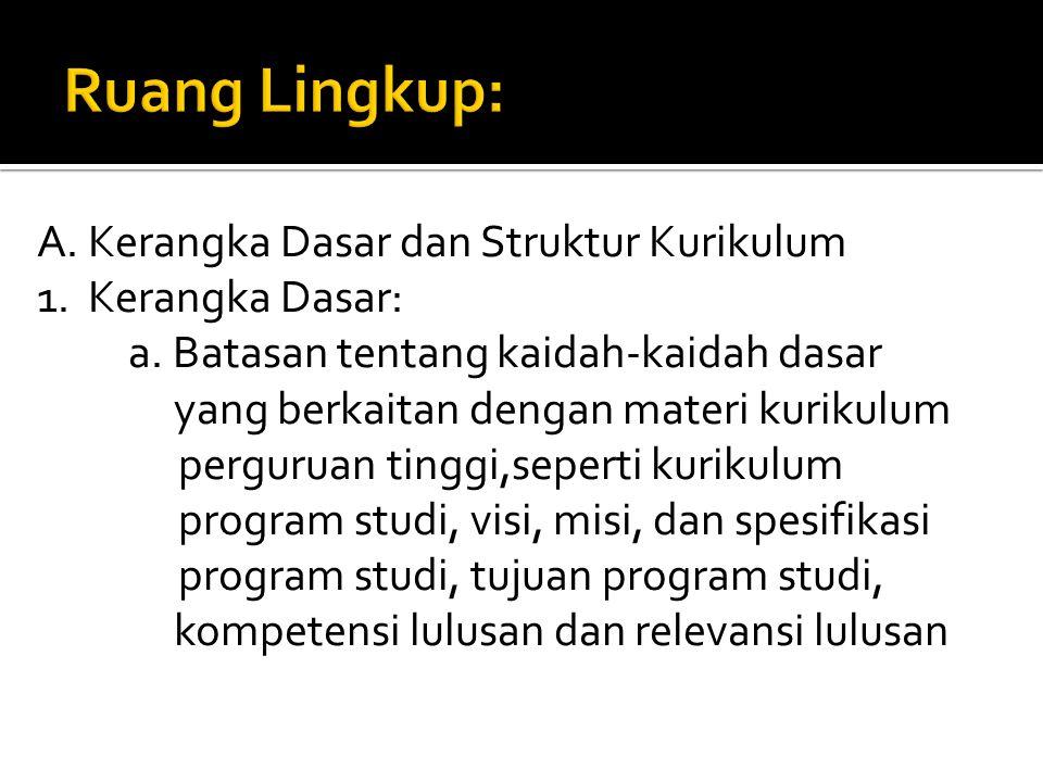 A.Kerangka Dasar dan Struktur Kurikulum 1. Kerangka Dasar: a.