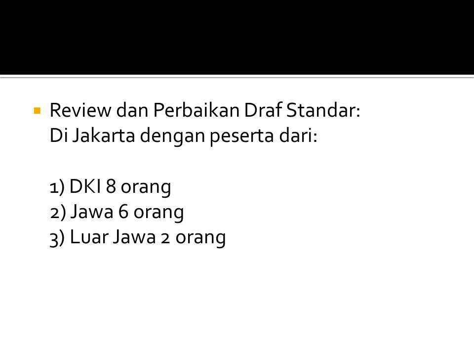  Review dan Perbaikan Draf Standar: Di Jakarta dengan peserta dari: 1) DKI 8 orang 2) Jawa 6 orang 3) Luar Jawa 2 orang