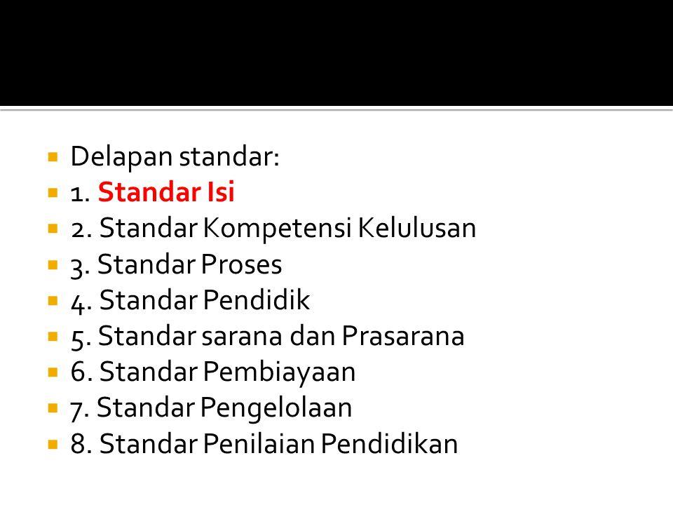  Delapan standar:  1.Standar Isi  2. Standar Kompetensi Kelulusan  3.