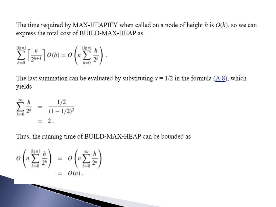  Analisis: ◦ Prosedur Heapify(i,j) adalah pembentukan binary heap dengan kompleksitas O(log n) ◦ Kemudian prosedur ini dipanggil n kali (Build-Max- Heap) sehingga secara keseluruhan kompleksitas adalah O(n log n)