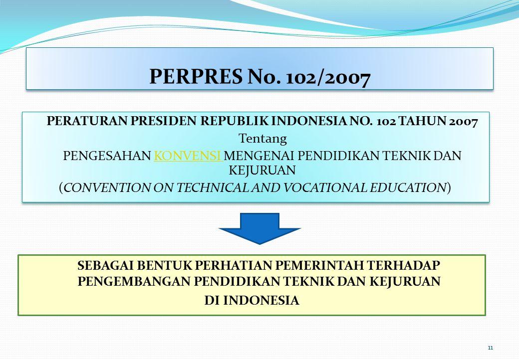 PERPRES No. 102/2007 PERATURAN PRESIDEN REPUBLIK INDONESIA NO. 102 TAHUN 2007 Tentang PENGESAHAN KONVENSI MENGENAI PENDIDIKAN TEKNIK DAN KEJURUANKONVE