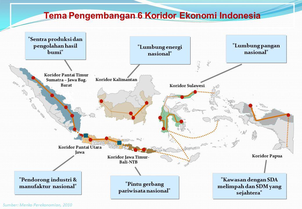 Tema Pengembangan 6 Koridor Ekonomi Indonesia Sumber: Menko Perekonomian, 2010