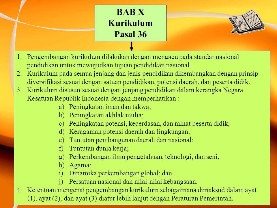 BAB X Kurikulum Pasal 36 1.Pengembangan kurikulum dilakukan dengan mengacu pada standar nasional pendidikan untuk mewujudkan tujuan pendidikan nasiona