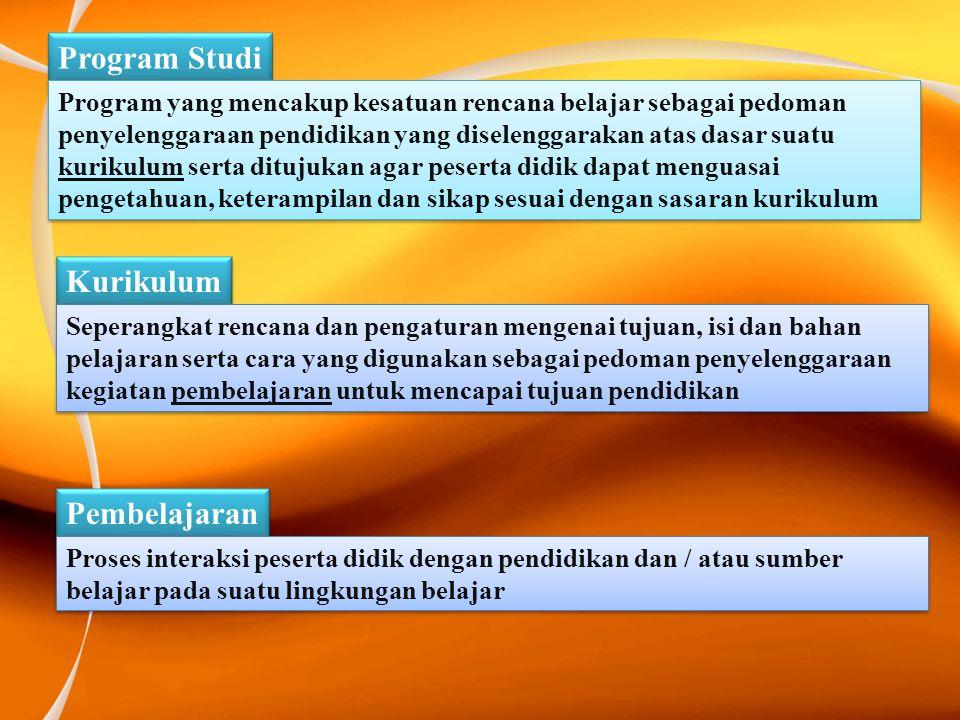 Program Studi Program yang mencakup kesatuan rencana belajar sebagai pedoman penyelenggaraan pendidikan yang diselenggarakan atas dasar suatu kurikulu