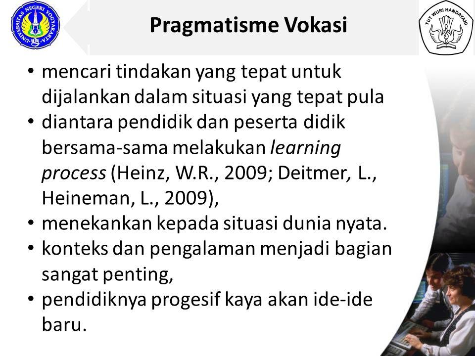 Pragmatisme Vokasi mencari tindakan yang tepat untuk dijalankan dalam situasi yang tepat pula diantara pendidik dan peserta didik bersama-sama melakuk