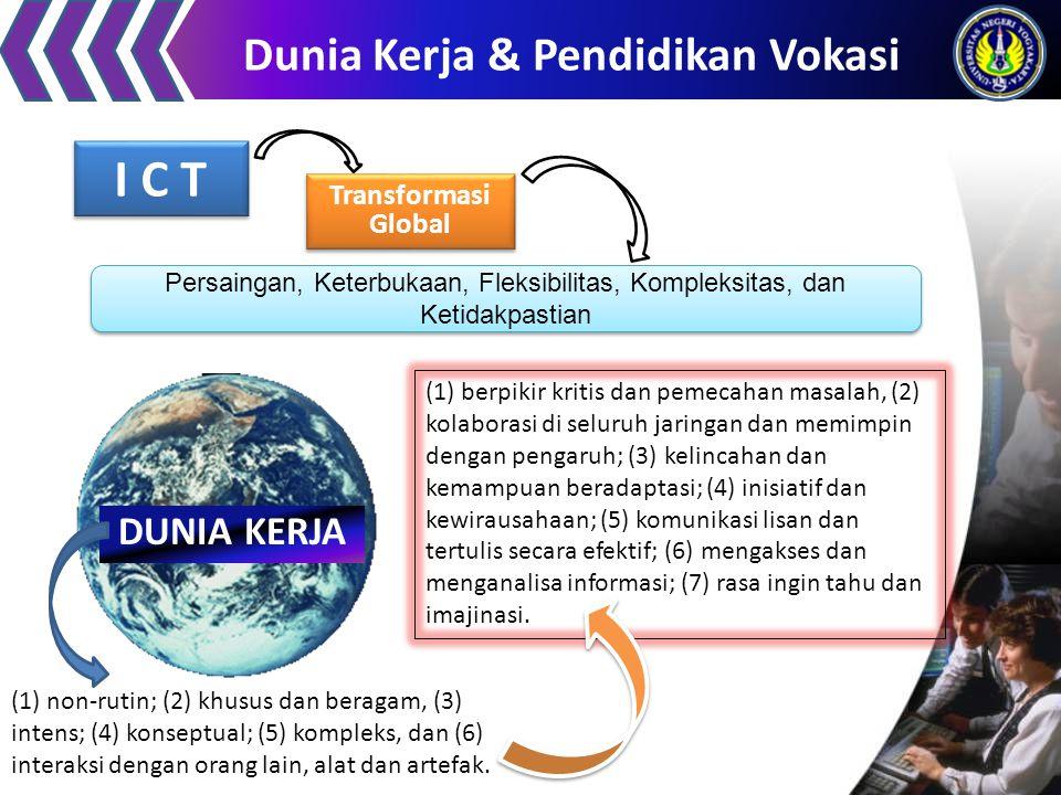 Dunia Kerja & Pendidikan Vokasi I C T Transformasi Global Persaingan, Keterbukaan, Fleksibilitas, Kompleksitas, dan Ketidakpastian DUNIA KERJA (1) non