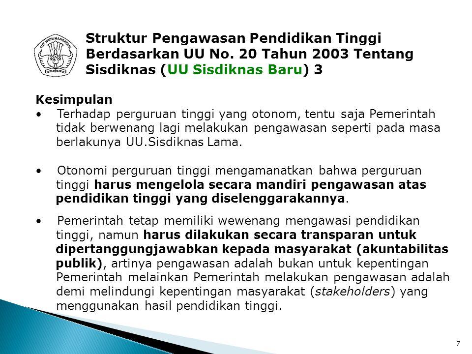 28 Sistem Penjaminan Mutu Internal (3) Konsep Sistem Penjaminan Mutu Internal Perguruan tinggi dinyatakan bermutu atau berkualitas, apabila 1.