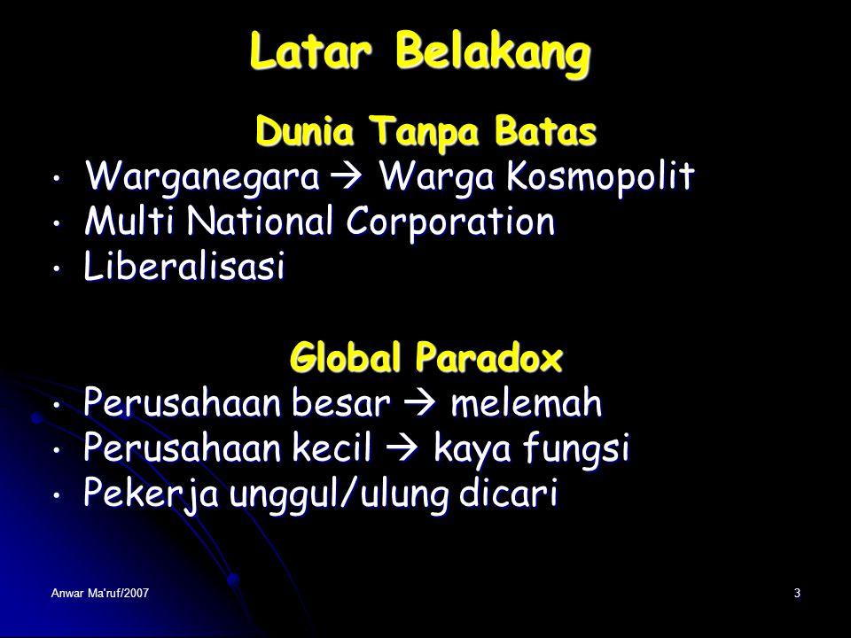 """Anwar Ma'ruf/20072 Latar Belakang Globalisasi Dipicu Revolusi teknologi Dipicu Revolusi teknologi Transportasi  dunia """"menyempit"""" Transportasi  duni"""