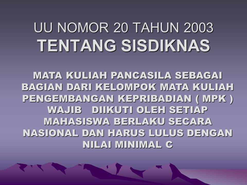 SK DIRJEN DIKTI NOMOR 43/DIKTI/KEP/2006 MATA KULIAH PANCASILA SEBAGAI BAGIAN DARI KELOMPOK MATA KULIAH PENGEMBANGAN KEPRIBADIAN ( MPK ) WAJIB DIBERIKAN OLEH SEMUA PERGURUAN TINGGI KEPADA SETIAP MAHASISWA PADA SEMUA PROGRAM STUDI