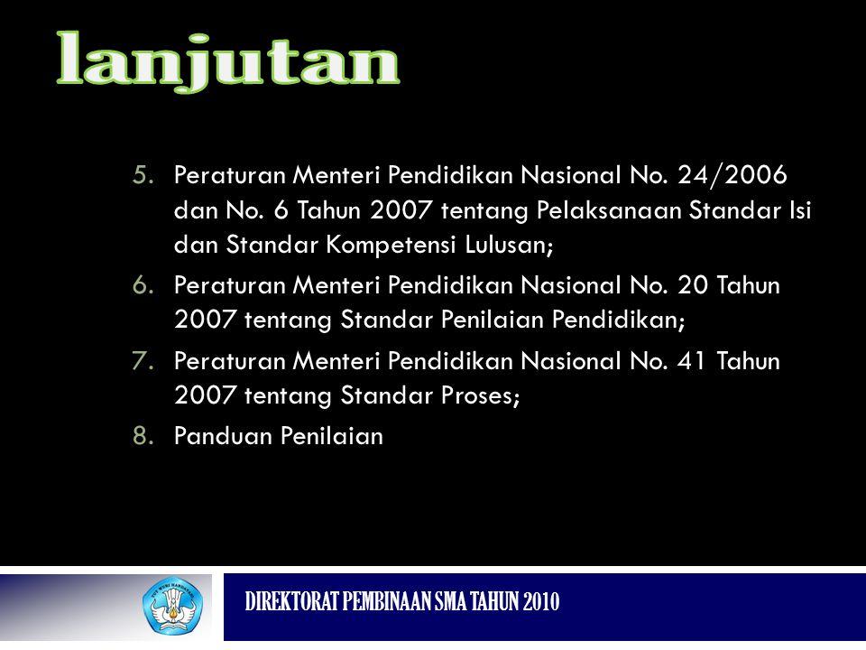 DIREKTORAT PEMBINAAN SMA TAHUN 2010 5.Peraturan Menteri Pendidikan Nasional No. 24/2006 dan No. 6 Tahun 2007 tentang Pelaksanaan Standar Isi dan Stand