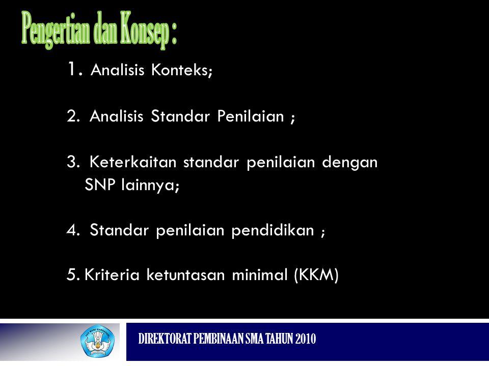 DIREKTORAT PEMBINAAN SMA TAHUN 2010 1. Analisis Konteks; 2. Analisis Standar Penilaian ; 3. Keterkaitan standar penilaian dengan SNP lainnya; 4. Stand
