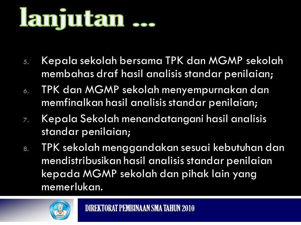 DIREKTORAT PEMBINAAN SMA TAHUN 2010 5. Kepala sekolah bersama TPK dan MGMP sekolah membahas draf hasil analisis standar penilaian; 6. TPK dan MGMP sek