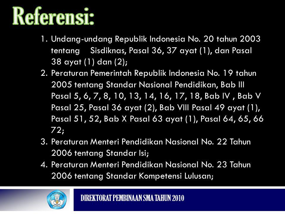 DIREKTORAT PEMBINAAN SMA TAHUN 2010 1.Undang-undang Republik Indonesia No. 20 tahun 2003 tentang Sisdiknas, Pasal 36, 37 ayat (1), dan Pasal 38 ayat (