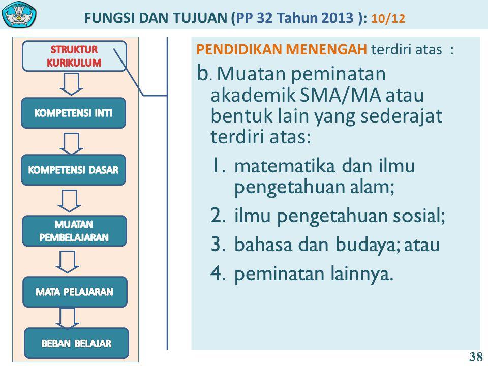 FUNGSI DAN TUJUAN (PP 32 Tahun 2013 ): 10/12 38 PENDIDIKAN MENENGAH terdiri atas : b. Muatan peminatan akademik SMA/MA atau bentuk lain yang sederajat