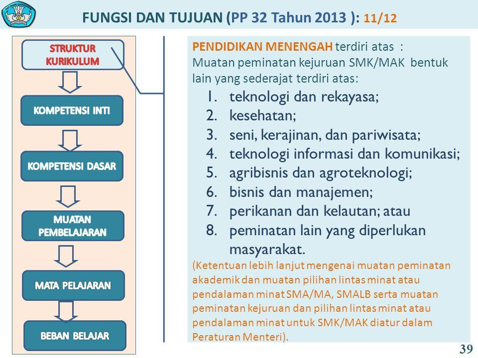 FUNGSI DAN TUJUAN (PP 32 Tahun 2013 ): 11/12 39 PENDIDIKAN MENENGAH terdiri atas : Muatan peminatan kejuruan SMK/MAK bentuk lain yang sederajat terdiri atas: 1.teknologi dan rekayasa; 2.kesehatan; 3.seni, kerajinan, dan pariwisata; 4.teknologi informasi dan komunikasi; 5.agribisnis dan agroteknologi; 6.bisnis dan manajemen; 7.perikanan dan kelautan; atau 8.peminatan lain yang diperlukan masyarakat.