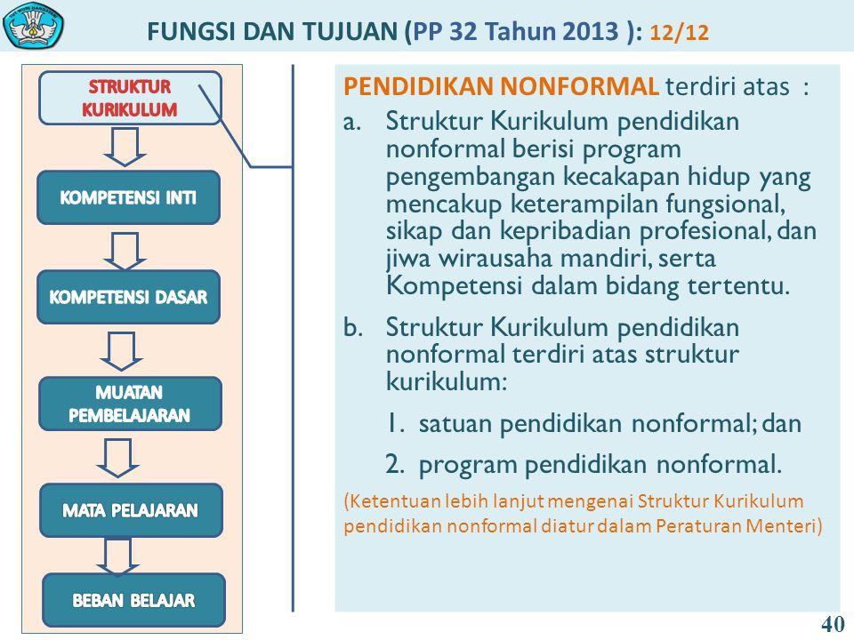 FUNGSI DAN TUJUAN (PP 32 Tahun 2013 ): 12/12 40 PENDIDIKAN NONFORMAL terdiri atas : a.Struktur Kurikulum pendidikan nonformal berisi program pengemban