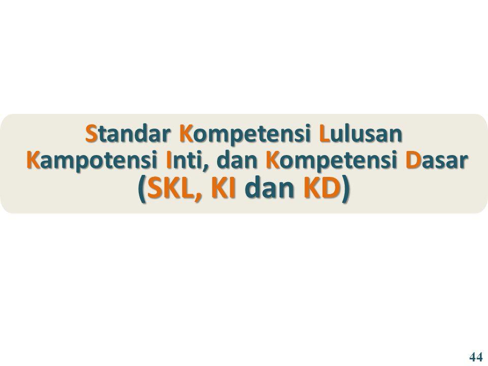 Standar Kompetensi Lulusan Kampotensi Inti, dan Kompetensi Dasar (SKL, KI dan KD) Kampotensi Inti, dan Kompetensi Dasar (SKL, KI dan KD) 44