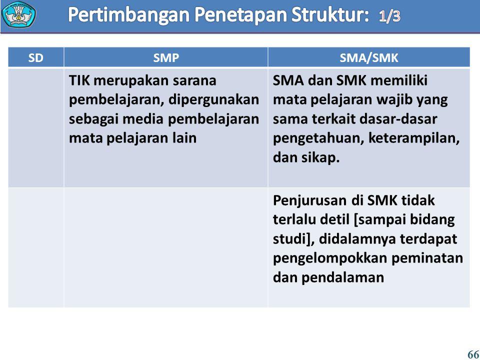 66 SDSMPSMA/SMK TIK merupakan sarana pembelajaran, dipergunakan sebagai media pembelajaran mata pelajaran lain SMA dan SMK memiliki mata pelajaran waj