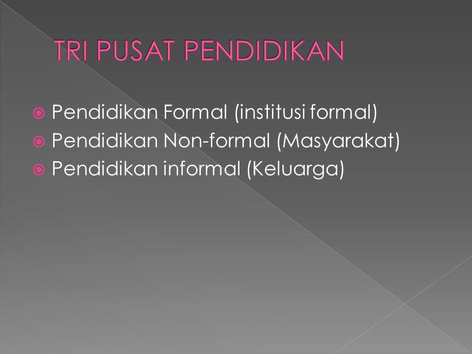  Pendidikan Formal (institusi formal)  Pendidikan Non-formal (Masyarakat)  Pendidikan informal (Keluarga)