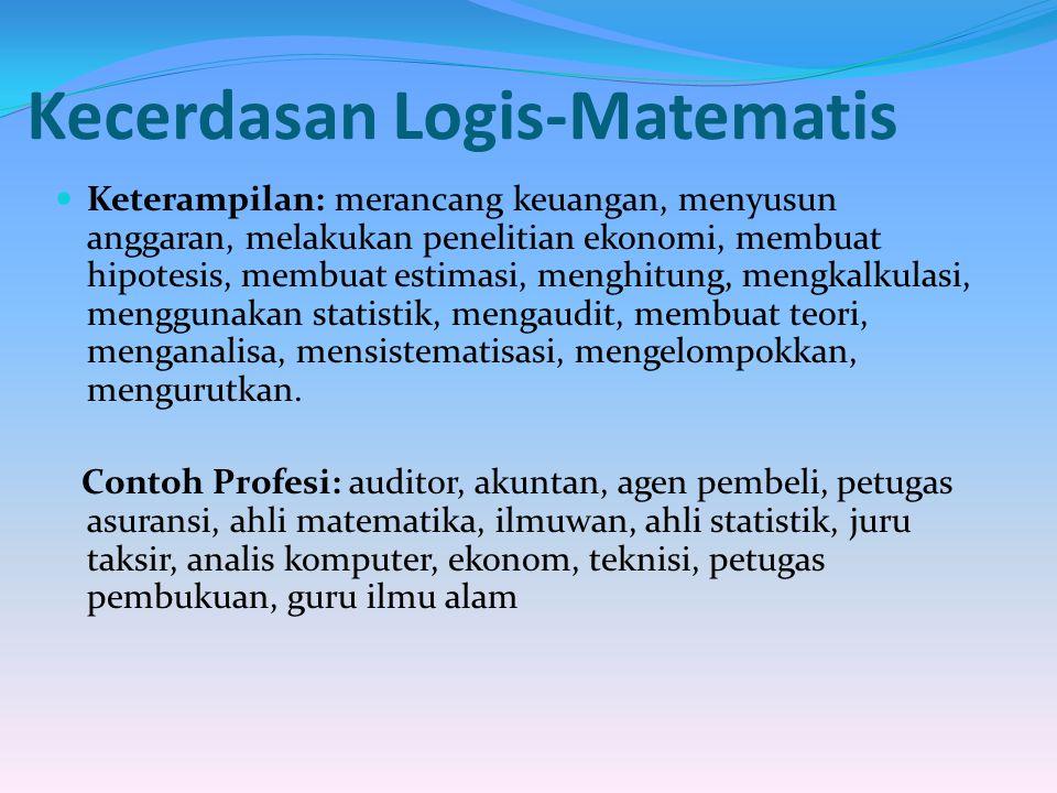 Kecerdasan Logis-Matematis Keterampilan: merancang keuangan, menyusun anggaran, melakukan penelitian ekonomi, membuat hipotesis, membuat estimasi, men