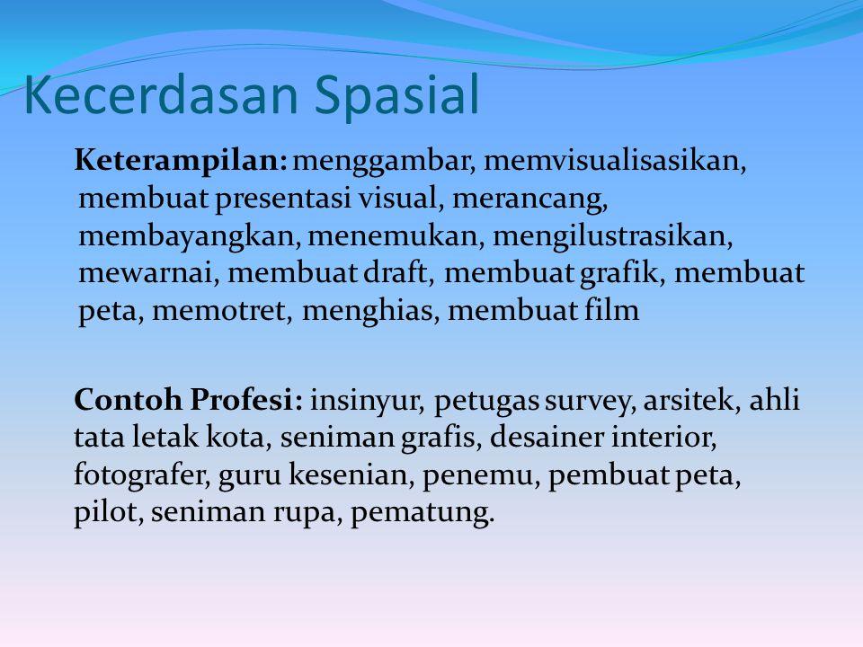 Kecerdasan Spasial Keterampilan: menggambar, memvisualisasikan, membuat presentasi visual, merancang, membayangkan, menemukan, mengilustrasikan, mewar