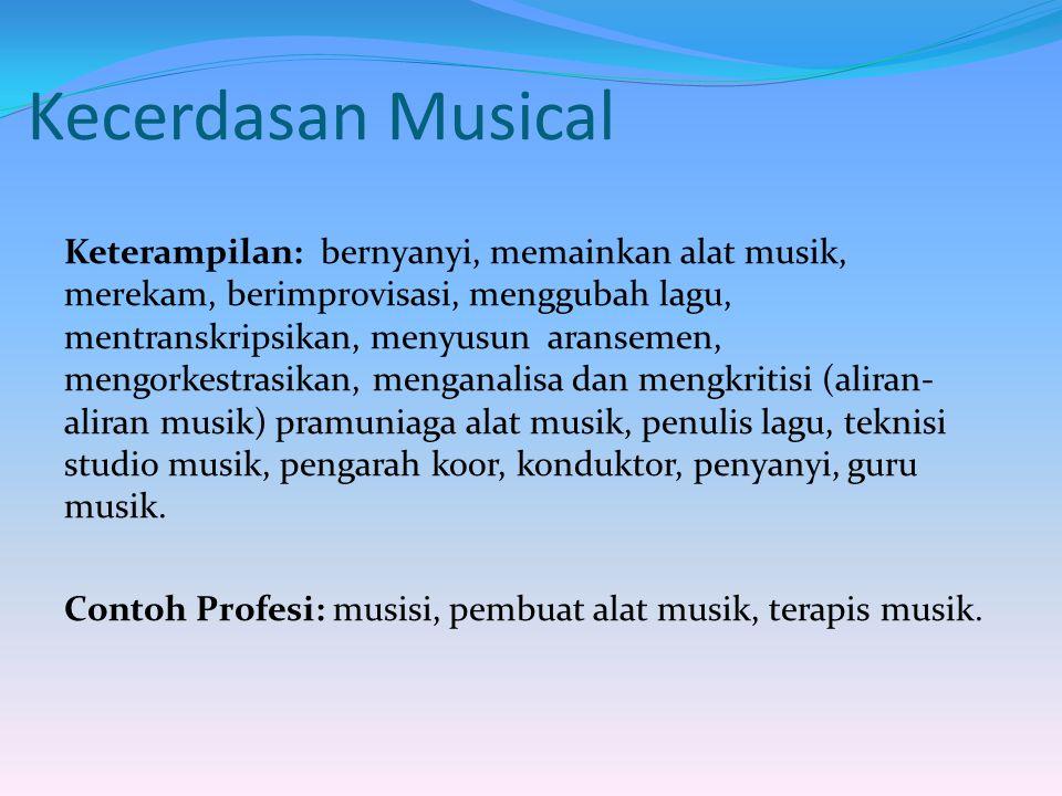 Kecerdasan Musical Keterampilan: bernyanyi, memainkan alat musik, merekam, berimprovisasi, menggubah lagu, mentranskripsikan, menyusun aransemen, meng