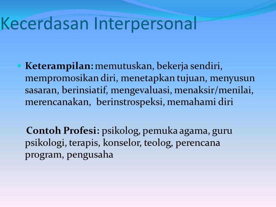 Kecerdasan Interpersonal Keterampilan: memutuskan, bekerja sendiri, mempromosikan diri, menetapkan tujuan, menyusun sasaran, berinsiatif, mengevaluasi