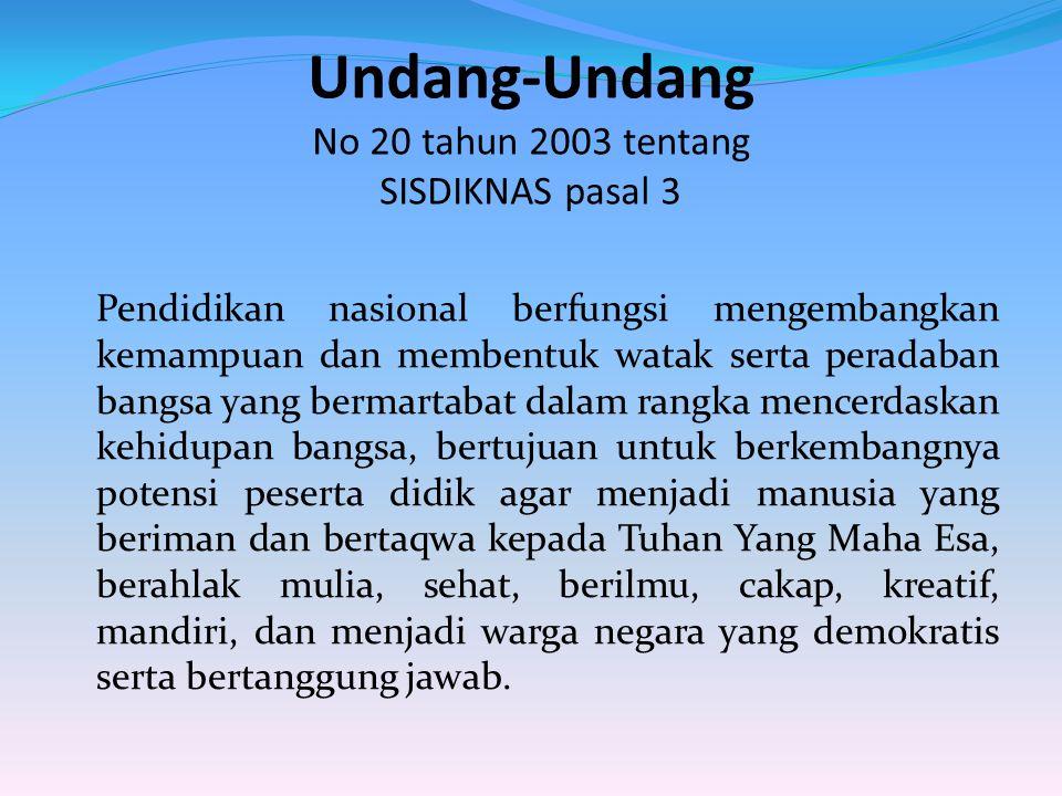Undang-Undang No 20 tahun 2003 tentang SISDIKNAS pasal 3 Pendidikan nasional berfungsi mengembangkan kemampuan dan membentuk watak serta peradaban ban