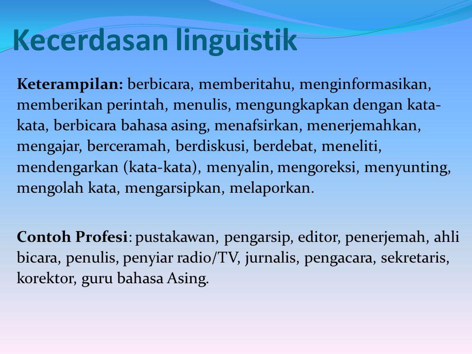 Kecerdasan linguistik Keterampilan: berbicara, memberitahu, menginformasikan, memberikan perintah, menulis, mengungkapkan dengan kata- kata, berbicara