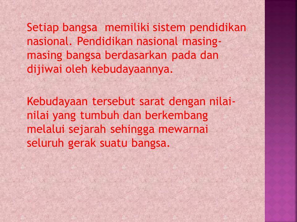 Setiap bangsa memiliki sistem pendidikan nasional. Pendidikan nasional masing- masing bangsa berdasarkan pada dan dijiwai oleh kebudayaannya. Kebudaya