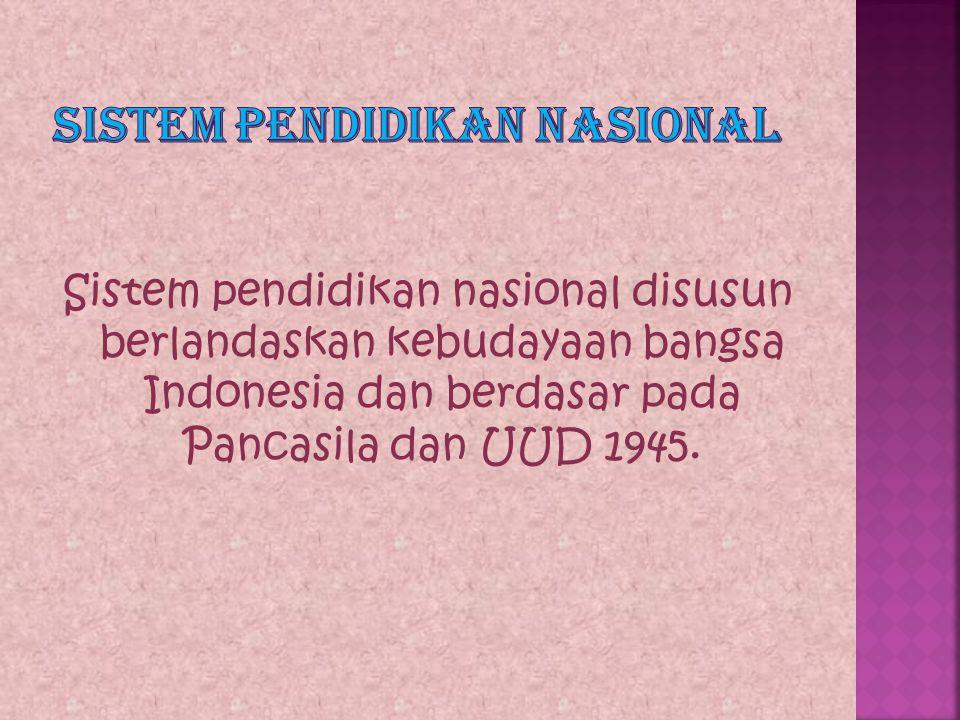 Sisdiknas merupakan kegiatan pendidikan yang saling terkait untuk mengusahakan tercapainya tujuan pendidikan nasional.