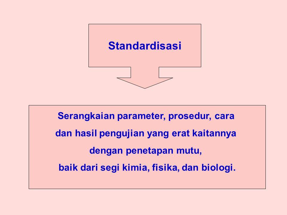Standardisasi Serangkaian parameter, prosedur, cara dan hasil pengujian yang erat kaitannya dengan penetapan mutu, baik dari segi kimia, fisika, dan biologi.