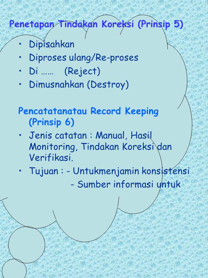Penetapan Tindakan Koreksi (Prinsip 5) Dipisahkan Diproses ulang/Re-proses Di …… (Reject) Dimusnahkan (Destroy) Pencatatanatau Record Keeping (Prinsip