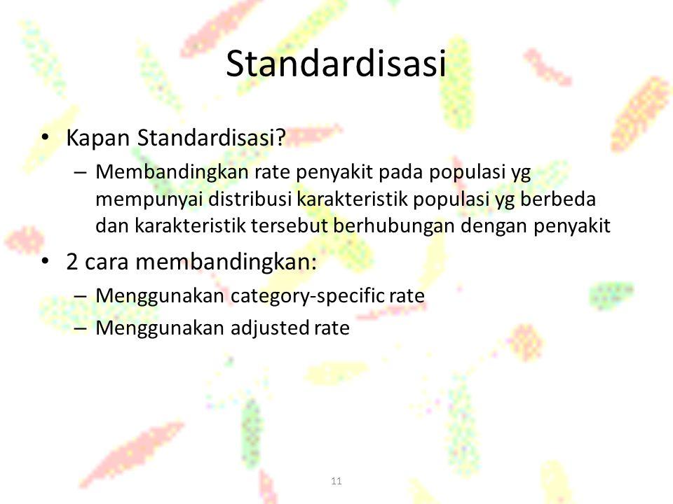11 Standardisasi Kapan Standardisasi? – Membandingkan rate penyakit pada populasi yg mempunyai distribusi karakteristik populasi yg berbeda dan karakt