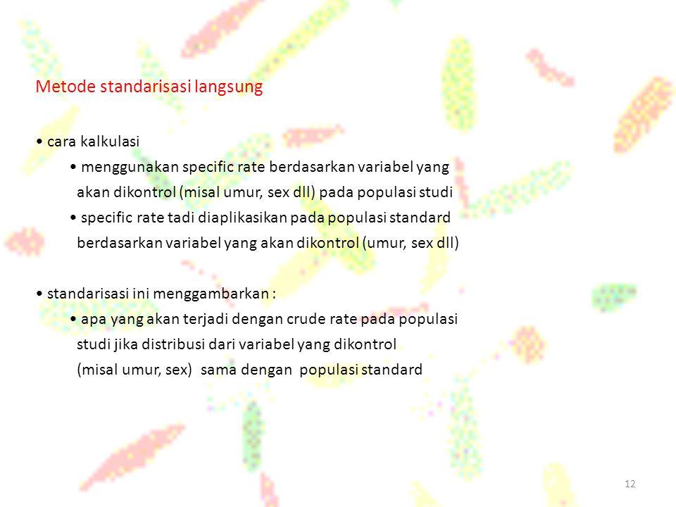 12 Metode standarisasi langsung cara kalkulasi menggunakan specific rate berdasarkan variabel yang akan dikontrol (misal umur, sex dll) pada populasi