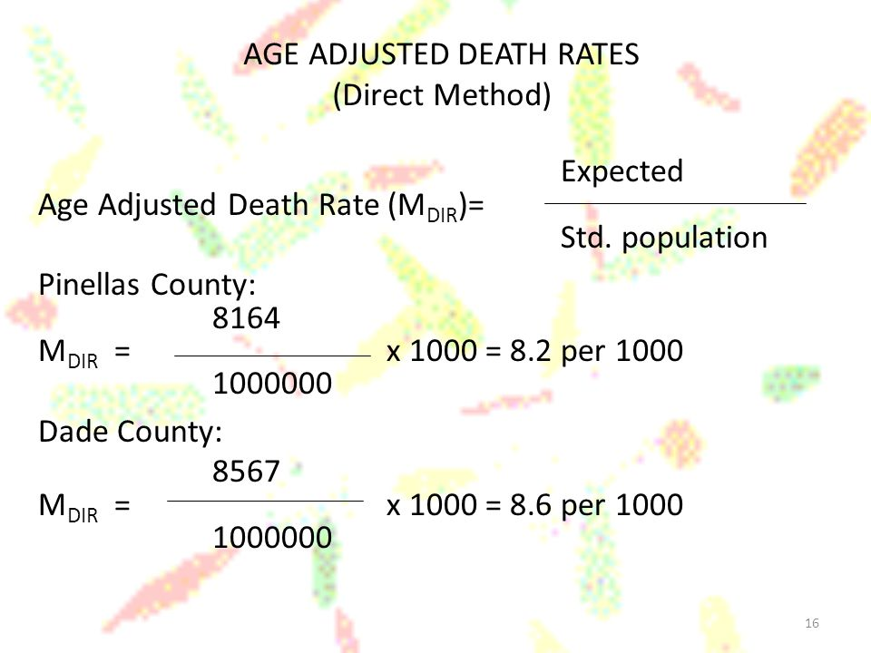 16 AGE ADJUSTED DEATH RATES (Direct Method) Expected Age Adjusted Death Rate (M DIR )= Std.